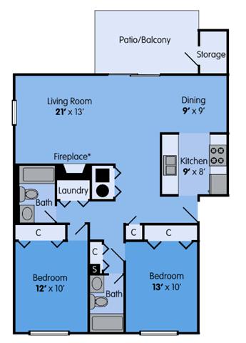 THE ELM Floor Plan at Woodbridge Apartments, Kentucky