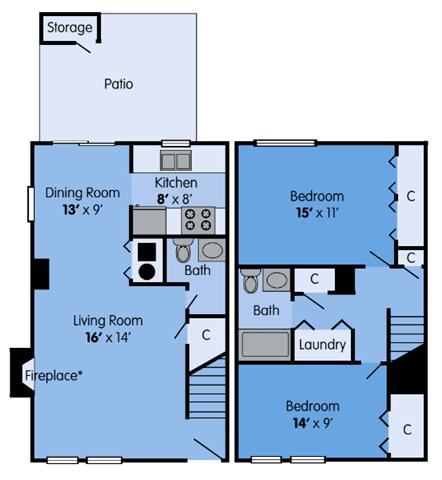 THE SYCAMORE Floor Plan at Woodbridge Apartments, Kentucky, 40242