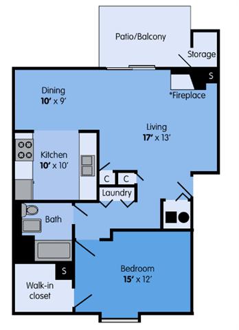 THE WILLOW Floor Plan at Woodbridge Apartments, Louisville, 40242