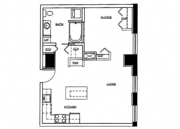 Eitel Apartments A6 Studio floor plan