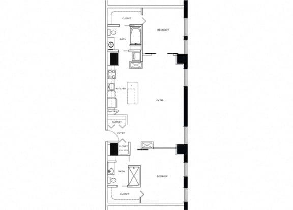 Eitel Apartments B10 2 bedroom floor plan