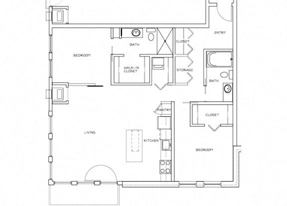Eitel Apartments B13 2 bedroom floor plan