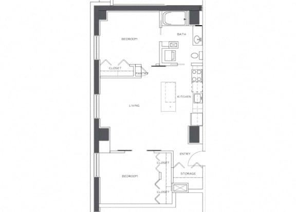 Eitel Apartments B1 2 bedroom floor plan