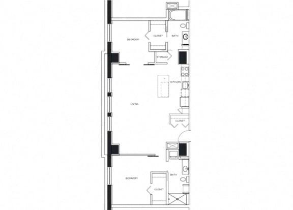 Eitel Apartments B8 2 bedroom floor plan