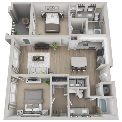 Forest 2-bed, 2-bath floor plan layout at Pointe Lake at Crabtree