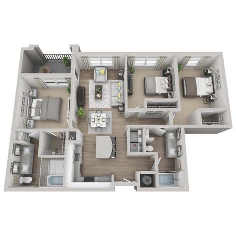 Garnet 3-bed, 2-bath floor plan layout at Point Lake at Crabtree