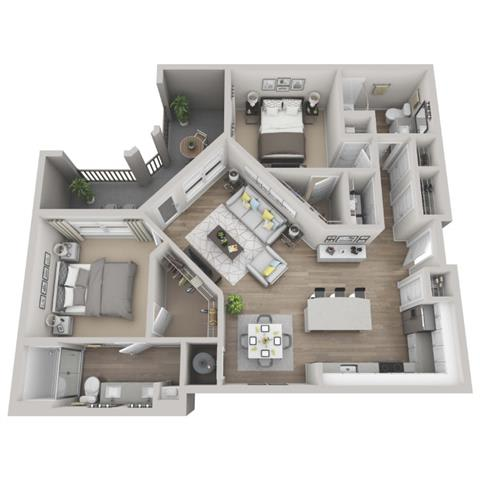 Juniper 2-bed, 2-bath floor plan layout at our apartments in Morrisville