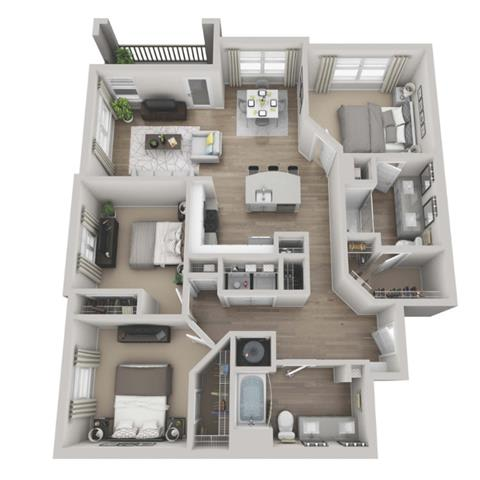 Merlot 3-bed, 2-bath floor plan layout at our Morrisville rentals