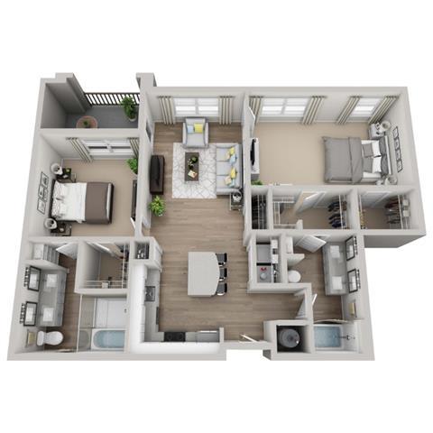 Moss 2-bed, 2-bath floor plan layout at Pointe Lake at Crabtree