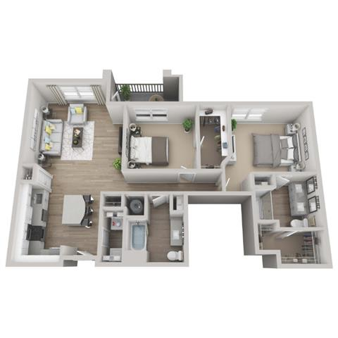 Pine 2-bed, 2-bath floor plan layout at Pointe Lake at Crabtree