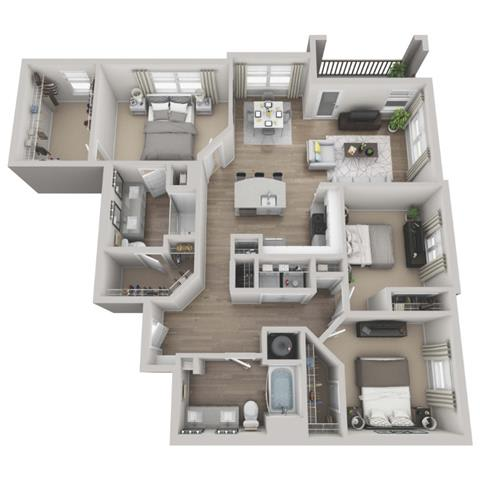 Scarlet 3-bed, 2-bath floor plan layout at our Morrisville, NC apartments
