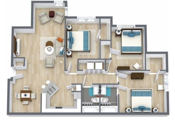 Floor Plan  3 bed, 2 bath