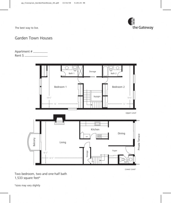 Floor Plan  Town house floor plan 1533 sf