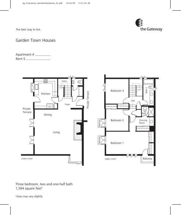 Town house floor plan 1589 sf