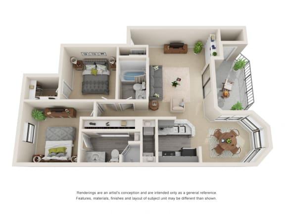 B1_Floor plan in apartments near houston tx