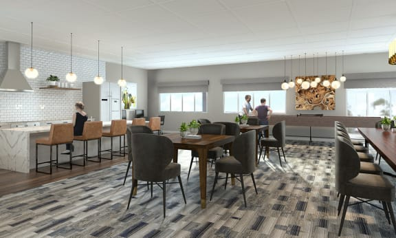 Eat-In Table With High Chairs In Clubhouse at Foxboro Apartments, Wheeling