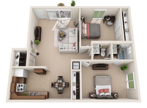 D Floor Plan at Foxboro Apartments, Wheeling, Illinois