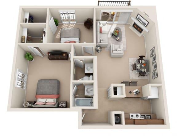 F Floor Plan at Foxboro Apartments, Illinois