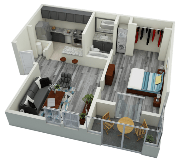 Floor Plan  A1 One Bedroom One Bath Apartment 720 with model furnishings`