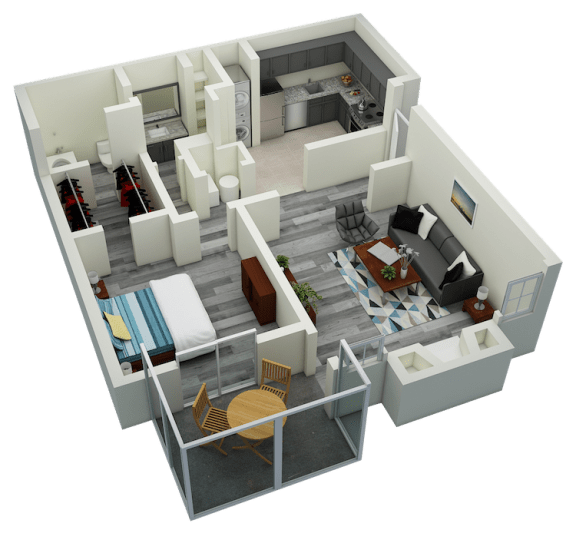 Floor Plan  A2 One Bedroom One Bath Apartment 780 sq ft with model furnishings