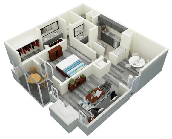 Floor Plan  A3 One Bedroom One Bath Apartment 1070 sq ft with model furnishings