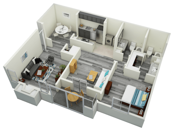 Floor Plan  A4 One Bedroom One Bath Apartment 1310 sq ft with model furnishings