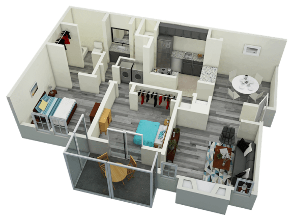 Floor Plan  B1 Two Bedroom One Bath Apartment 1070 sq ft with model furnishings