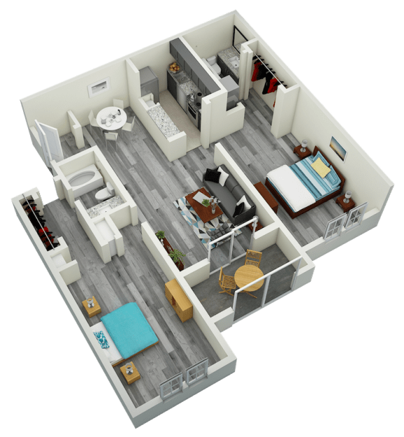 Floor Plan  B2 Two Bedroom Two Bath Apartment 1110 sq ft with model furnishings