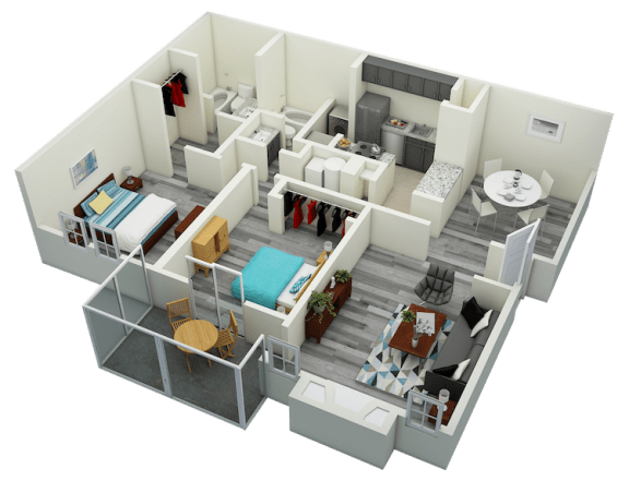 Floor Plan  B3 Two Bedroom Two Bath Apartment 1190 sq ft with model furnishings