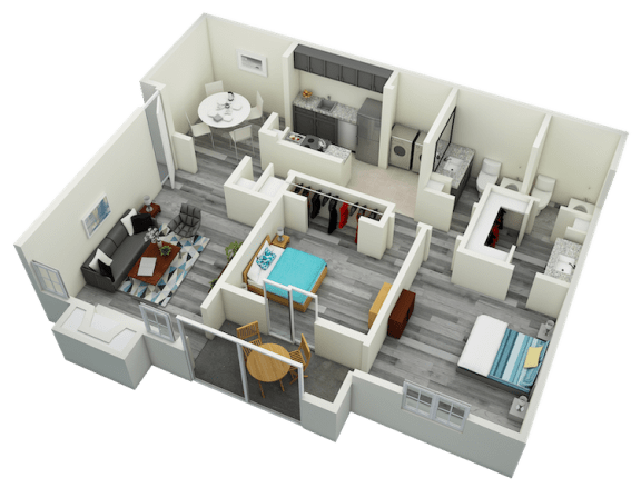 Floor Plan  B4 Two Bedroom Two Bath Apartment 1310 sq ft with model furnishings