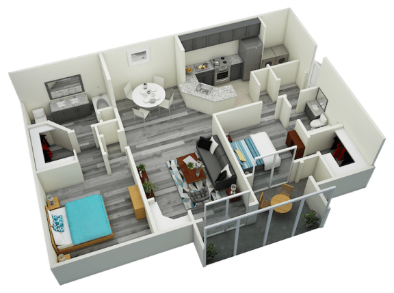 Floor Plan  B5 Two Bedroom Two Bath Apartment 1377 sq ft with model furnishings