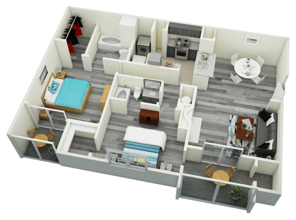 Floor Plan  B6 Two Bedroom Two Bath Apartment 1435 sq ft with model furnishings