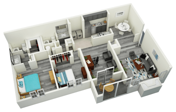 Floor Plan  B7 Two Bedroom Two Bath Apartment 1520 sq ft with model furnishings