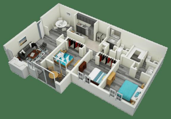Floor Plan  C1 Three Bedroom Two Bath Apartment 1520 sq ft with model furnishings