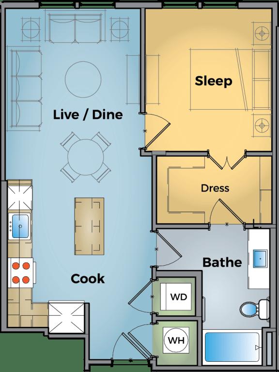 1 Bedroom 1 Bathroom Floor Plan at Cameron Square, Alexandria, 22304