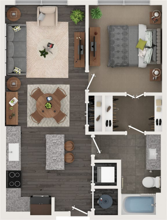 One bedroom One bathroom Floor Plan at Cameron Square, Alexandria, VA