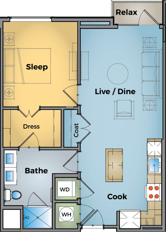 1 Bed 1 Bath Floor Plan at Cameron Square, Alexandria, VA, 22304