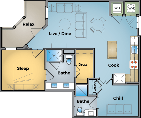 1 Bed + Office Floor Plan at Cameron Square, Alexandria