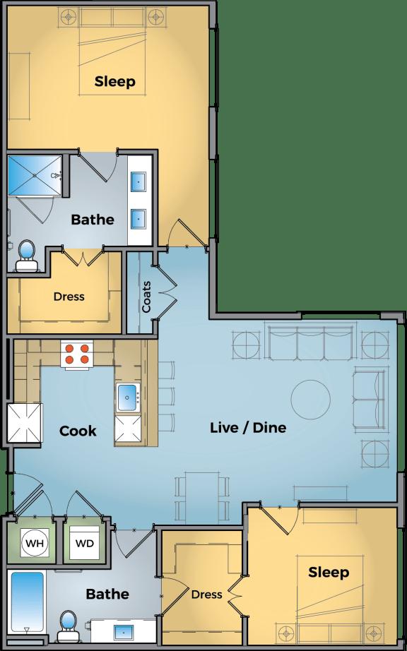 Two bedroom Two bathroom Floor Plan at Cameron Square, Alexandria, Virginia
