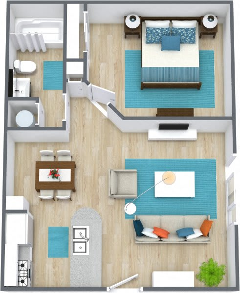Three dimensional rendering of a one bedroom apartment