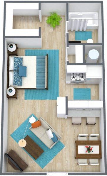 Three dimensional rendering of a studio apartment