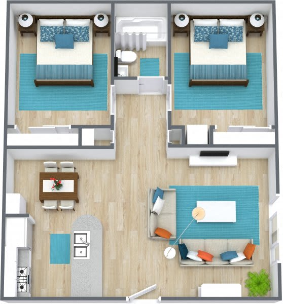Three dimensional rendering of a two bedroom apartment