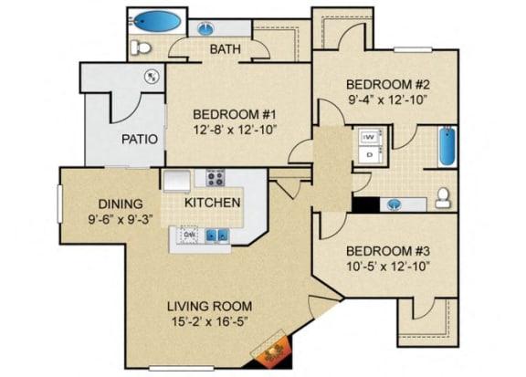 Floor Plan  3 bedroom 2 bathroom A