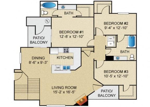 Floor Plan  3 bedroom 2 bathroom B