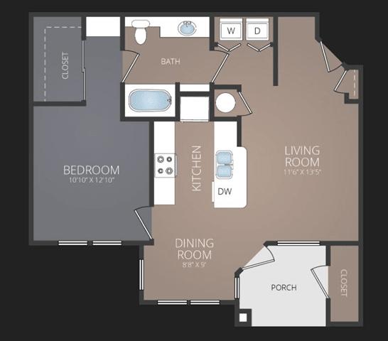 A2 Renovated Floor Plan at Promenade at Carillon, St. Petersburg, 33716