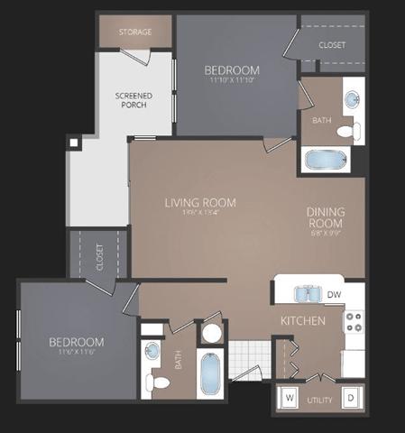 B2 Renovated Floor Plan at Promenade at Carillon, St. Petersburg, FL, 33716