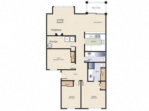 Yarrowood Highlands Apartments 3 Bedroom 2 Bath Floor Plan