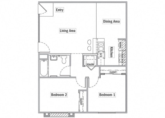 2 bedroom floor plan l Las Casitas Apartments in Hisperia Ca