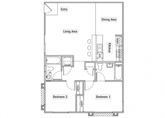 two bedroom floor plan l Las Casitas Apartments in Hisperia Ca