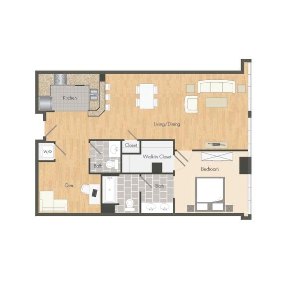 A2 – 1 Bedroom 1.5 Bath Floor Plan Layout – 958 Square Feet